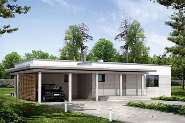 nhà cấp 4 mái bằng có sân vườn